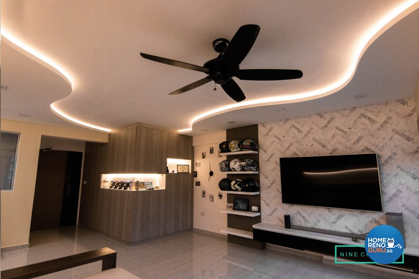 Contemporary, Modern Design - Living Room - HDB 5 Room - Design by 9 Creation Pte Ltd