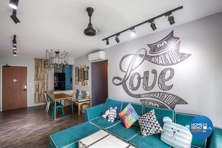 Modern, Retro, Vintage Design - Living Room - HDB 4 Room - Design by 9 Creation Pte Ltd