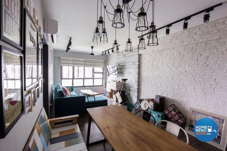 Modern, Retro, Vintage Design - Dining Room - HDB 4 Room - Design by 9 Creation Pte Ltd