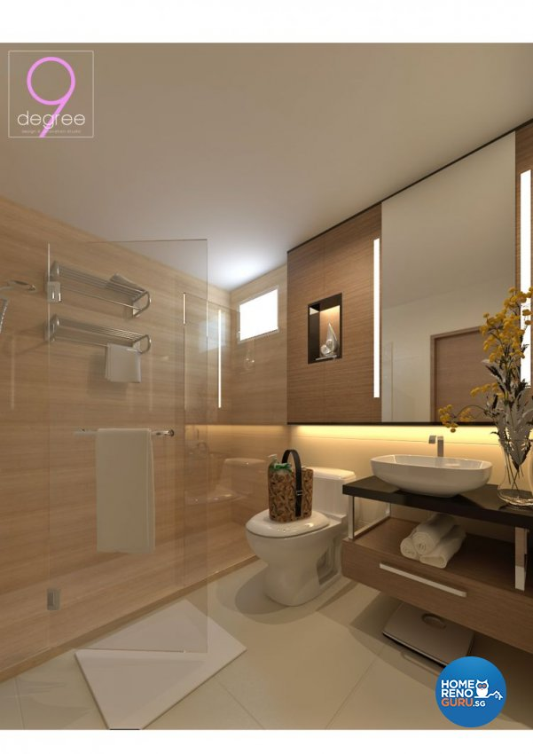 Contemporary, Rustic, Scandinavian Design - Bathroom - HDB 5 Room - Design by 9 Degree Construction Pte Ltd