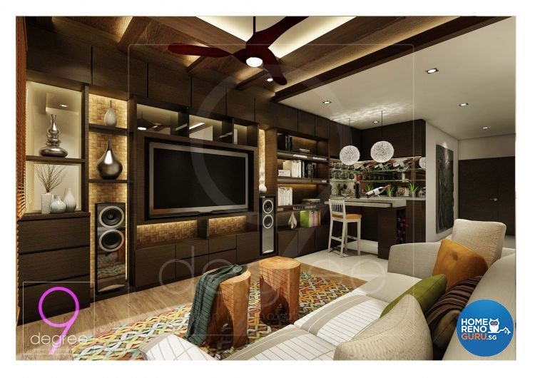 Mediterranean, Resort, Rustic, Tropical Design - Living Room - Condominium - Design by 9 Degree Construction Pte Ltd