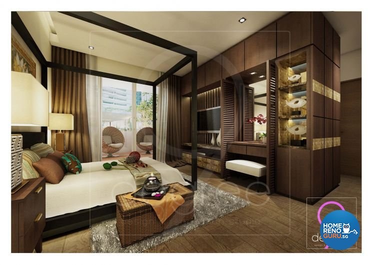 Mediterranean, Resort, Rustic, Tropical Design - Bedroom - Condominium - Design by 9 Degree Construction Pte Ltd