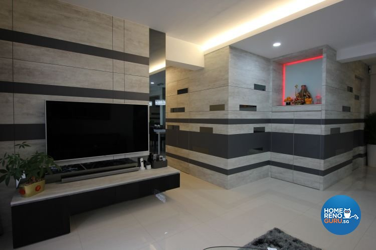 Contemporary, Industrial, Modern Design - Living Room - HDB 5 Room - Design by 9 Degree Construction Pte Ltd