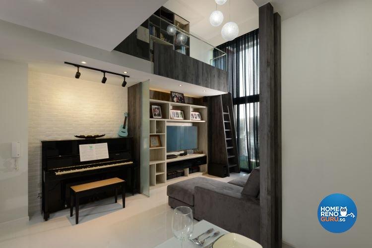 Industrial, Modern Design - Living Room - Condominium - Design by 9 Degree  Construction Pte