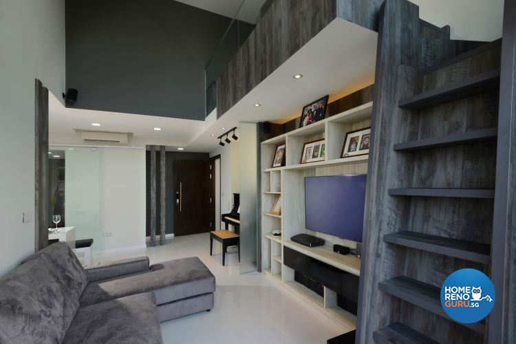 Industrial, Modern Design - Living Room - Condominium - Design by 9 Degree Construction Pte Ltd