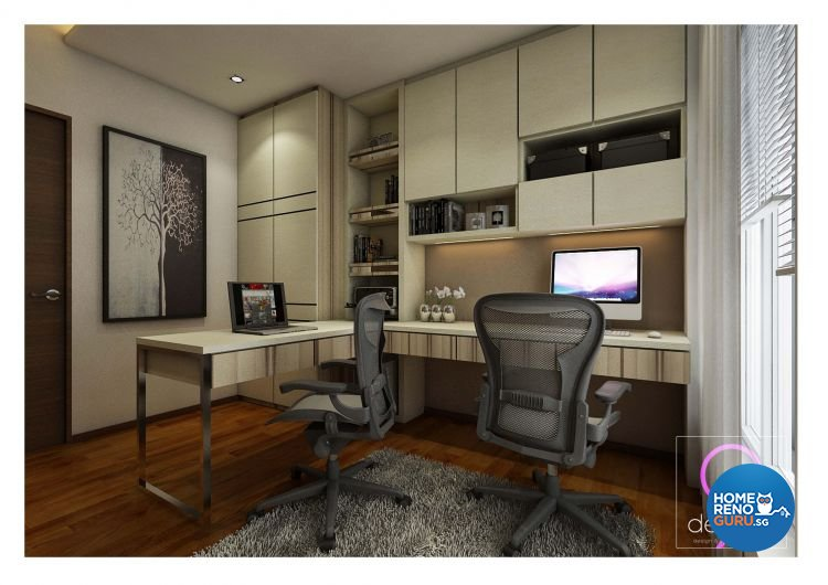 Contemporary, Modern Design - Study Room - HDB 4 Room - Design by 9 Degree Construction Pte Ltd