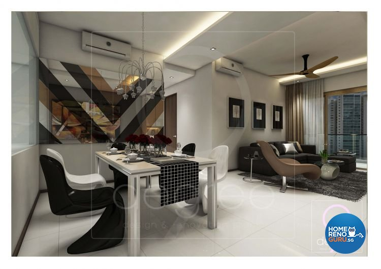 Eclectic, Modern Design - Dining Room - Condominium - Design by 9 Degree Construction Pte Ltd