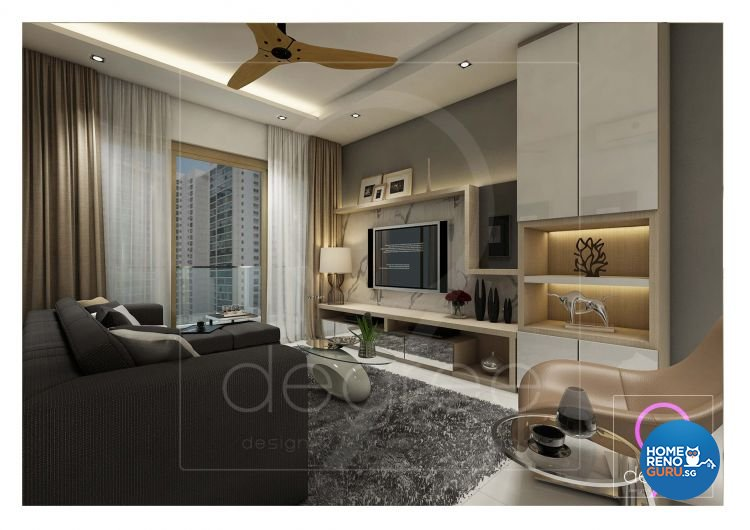 Eclectic, Modern Design - Living Room - Condominium - Design by 9 Degree Construction Pte Ltd