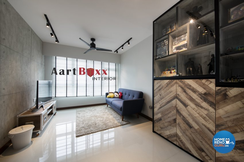 Rustic Design - Living Room - HDB 4 Room - Design by Aartboxx Interior