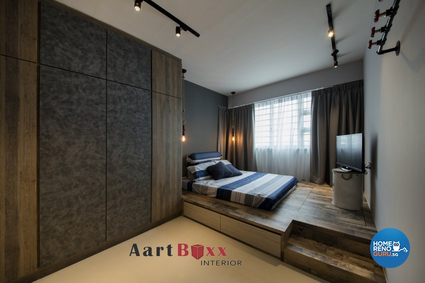 Rustic Design - Bedroom - HDB 4 Room - Design by Aartboxx Interior