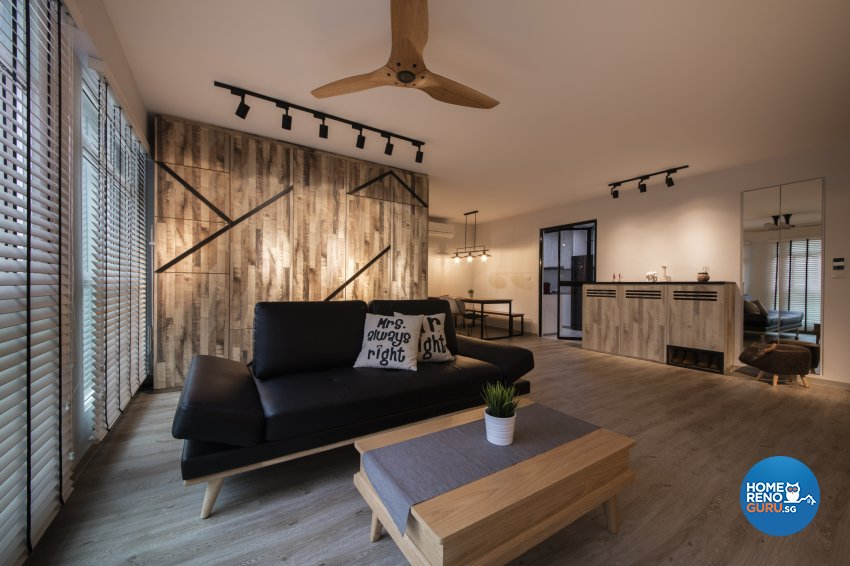 Industrial, Rustic Design - Living Room - HDB 5 Room - Design by Aartboxx Interior