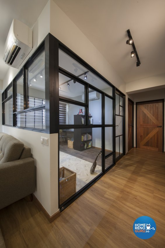Industrial, Rustic Design - Entertainment Room - HDB 5 Room - Design by Aartboxx Interior