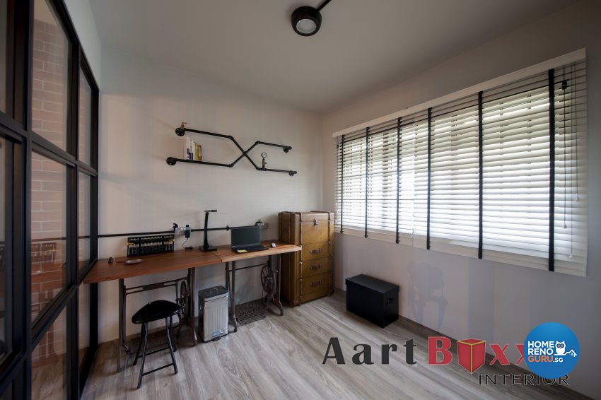 Industrial, Rustic Design - Study Room - HDB 5 Room - Design by Aartboxx Interior