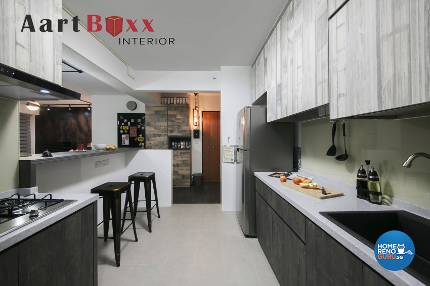 Rustic Design - Kitchen - HDB 4 Room - Design by Aartboxx Interior