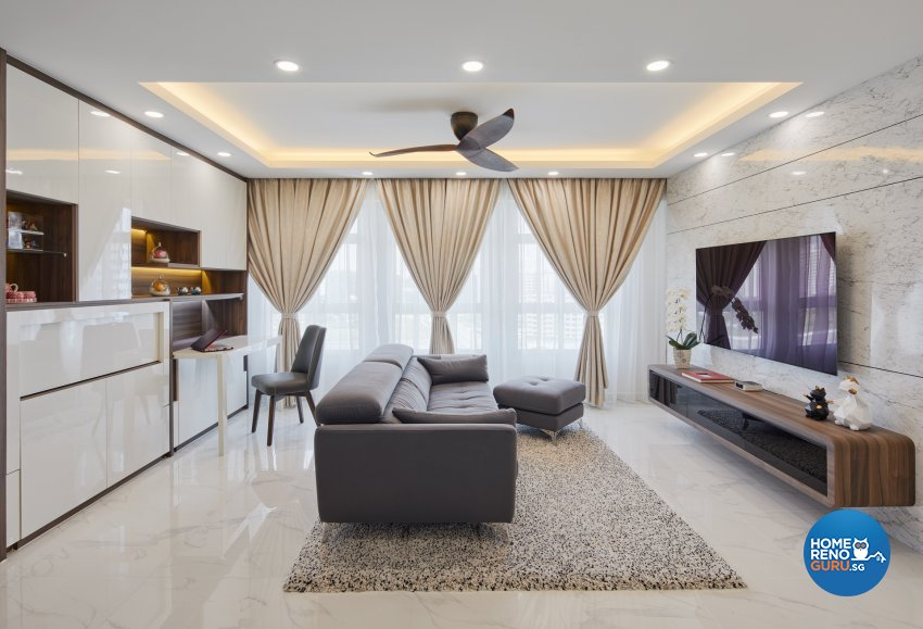 Contemporary, Modern Design - Living Room - HDB 5 Room - Design by Absolook Interior Design Pte Ltd