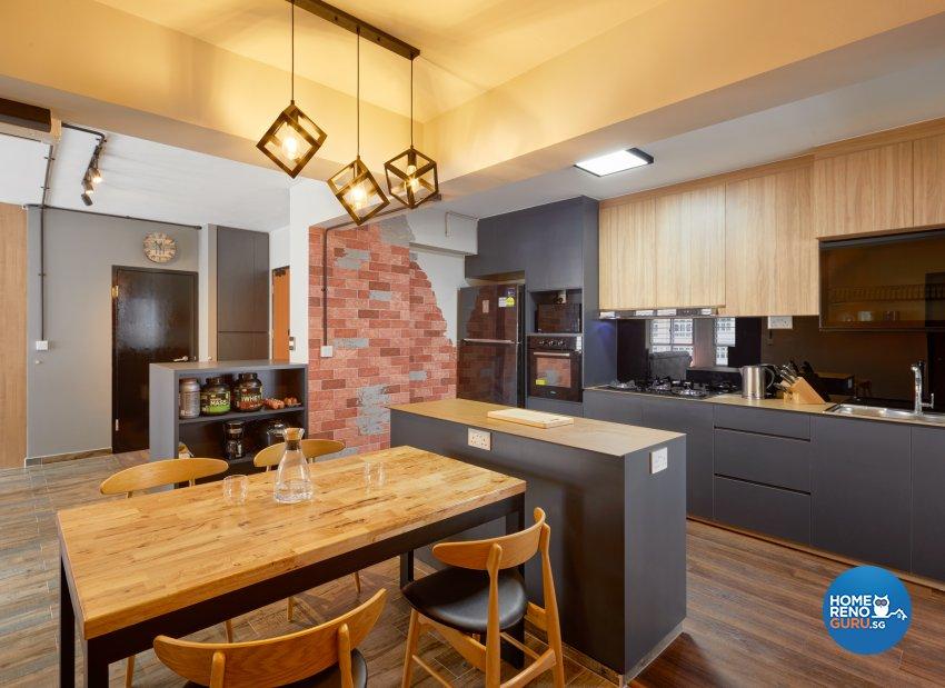 Industrial Design - Kitchen - HDB 5 Room - Design by Absolook Interior Design Pte Ltd