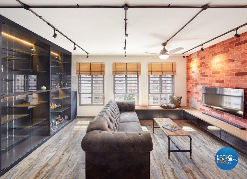 Industrial Design - Living Room - HDB 5 Room - Design by Absolook Interior Design Pte Ltd