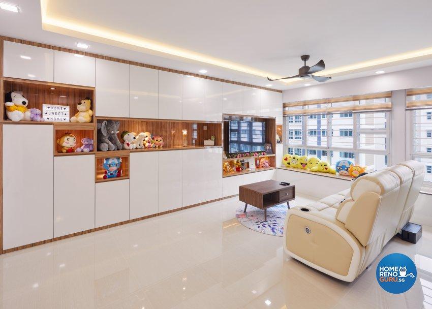 Minimalist, Modern Design - Living Room - HDB 5 Room - Design by Absolook Interior Design Pte Ltd