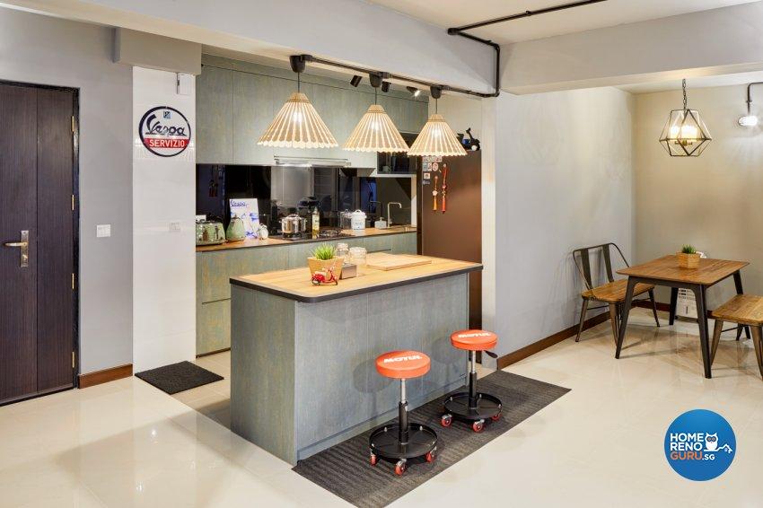 Industrial, Modern Design - Dining Room - HDB 5 Room - Design by Absolook Interior Design Pte Ltd