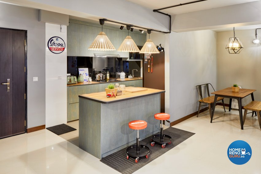 Industrial, Modern Design - Dining Room - HDB 5 Room - Design by Absolook Interior Design Pte Ltd