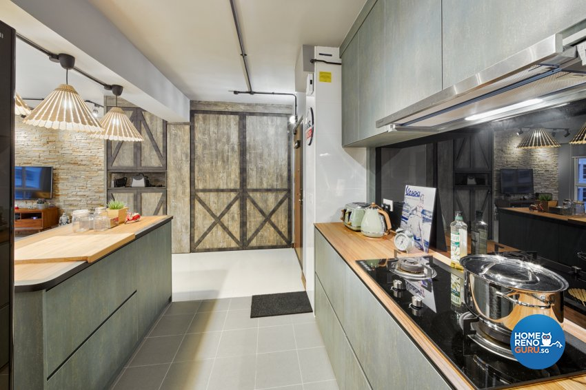 Industrial, Modern Design - Kitchen - HDB 5 Room - Design by Absolook Interior Design Pte Ltd