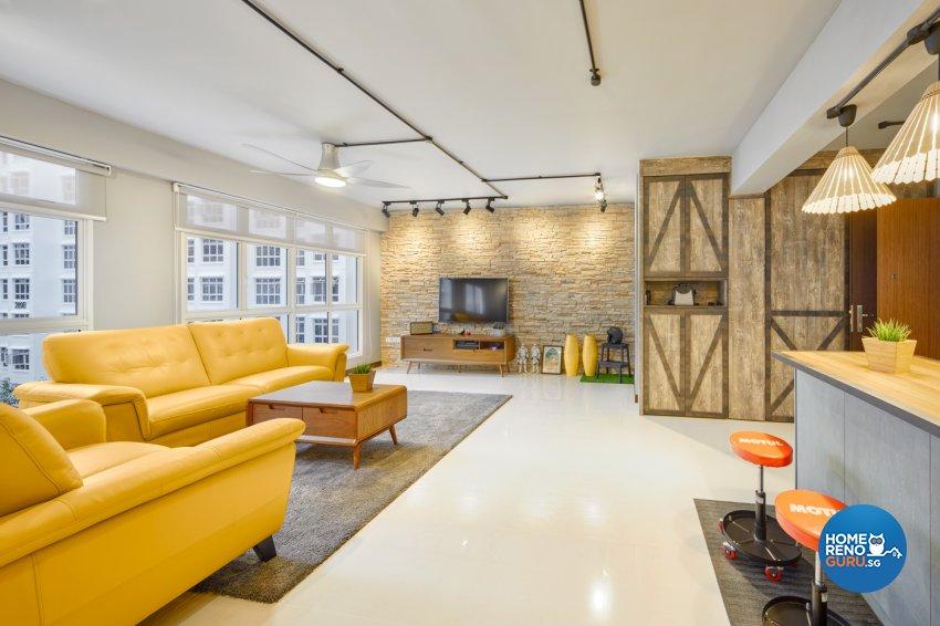 Industrial, Modern Design - Living Room - HDB 5 Room - Design by Absolook Interior Design Pte Ltd