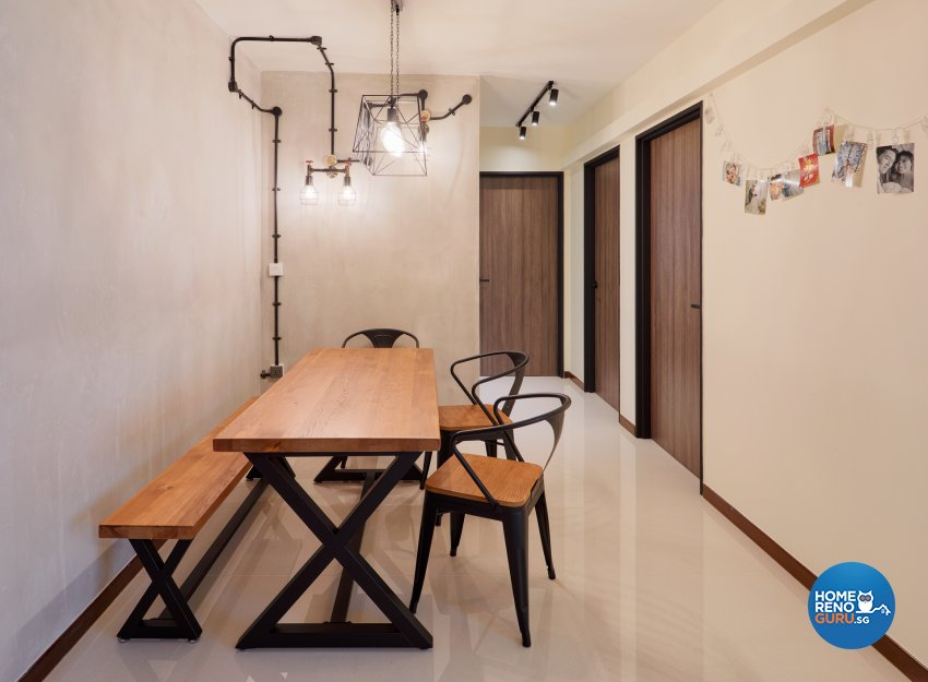 Industrial, Modern Design - Dining Room - HDB 4 Room - Design by Absolook Interior Design Pte Ltd