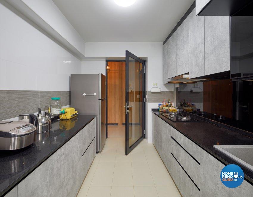 Industrial, Modern Design - Kitchen - HDB 4 Room - Design by Absolook Interior Design Pte Ltd