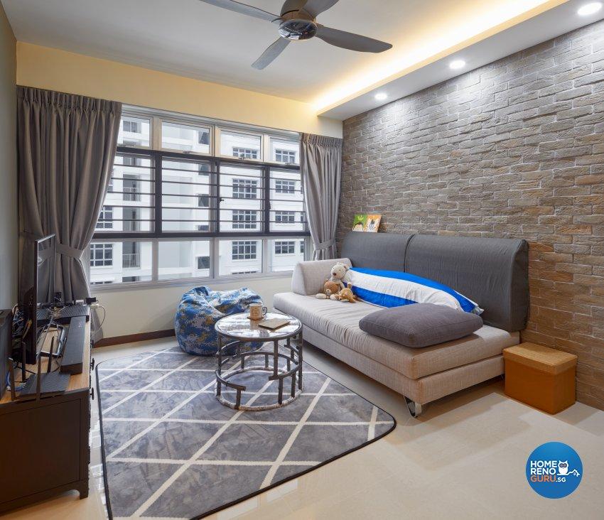 Industrial, Modern Design - Living Room - HDB 4 Room - Design by Absolook Interior Design Pte Ltd