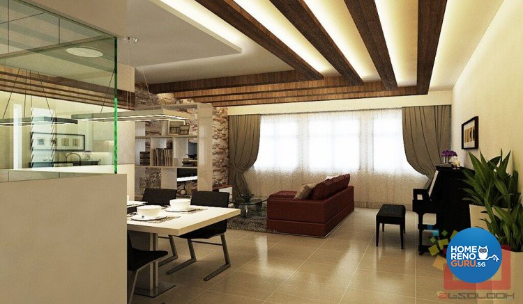 Contemporary, Rustic, Tropical Design - Living Room - HDB 5 Room - Design by Absolook Interior Design Pte Ltd