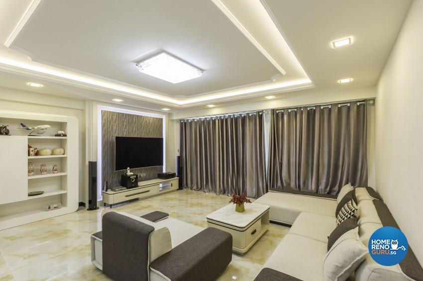 Classical, Modern Design - Living Room - HDB 5 Room - Design by Absolook Interior Design Pte Ltd