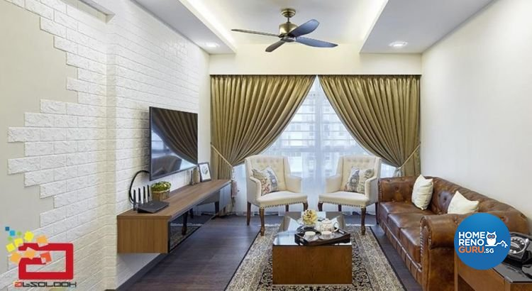 Classical, Contemporary Design - Living Room - HDB 4 Room - Design by Absolook Interior Design Pte Ltd