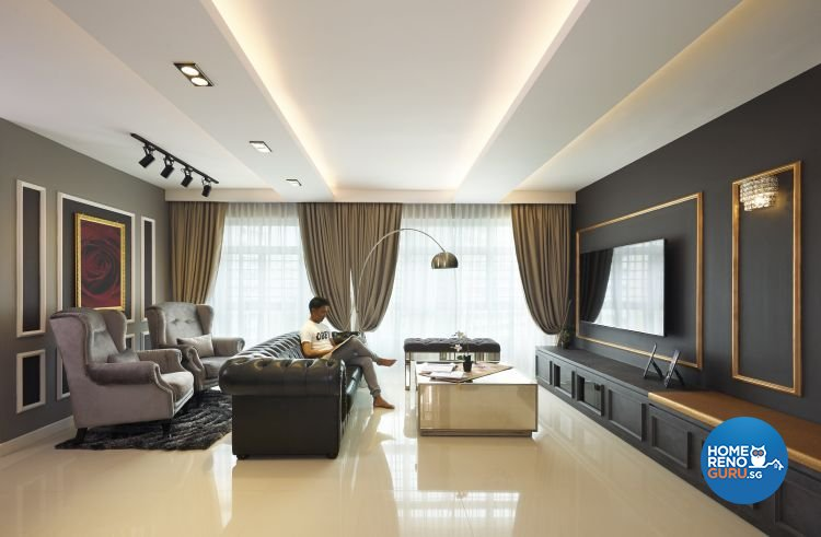 Modern, Scandinavian, Victorian Design - Living Room - HDB 5 Room - Design by AC Vision Design Pte Ltd