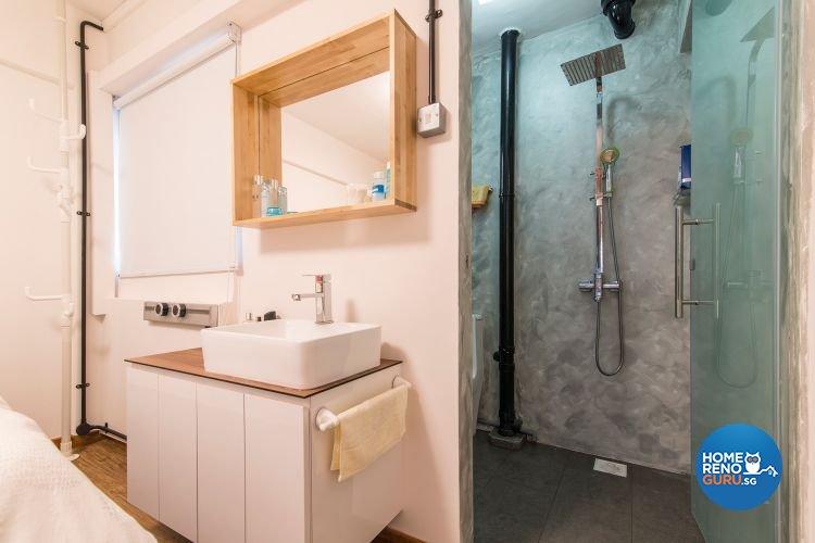 Industrial, Minimalist Design - Bathroom - HDB 3 Room - Design by Ace Space Design Pte Ltd