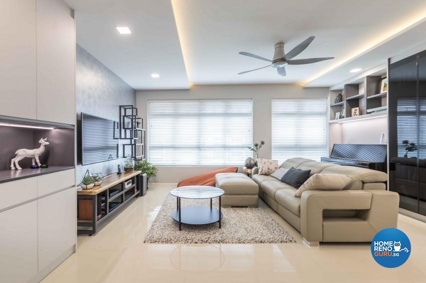 Modern Design - Living Room - HDB 4 Room - Design by Albedo Design Pte Ltd