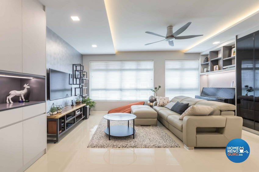 Modern Design - Living Room - HDB 4 Room - Design by Albedo Design Pte Ltd