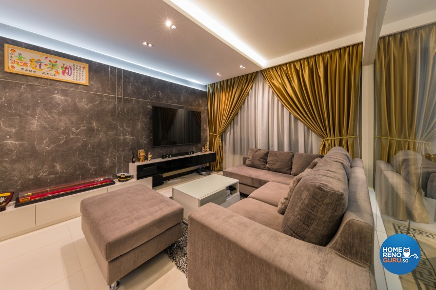 Contemporary, Modern Design - Living Room - HDB 4 Room - Design by All About Designs Pte Ltd
