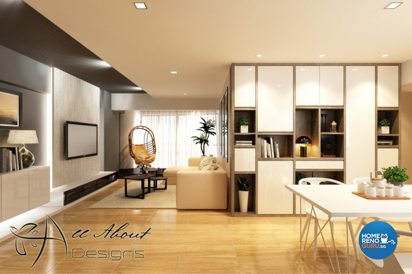 Contemporary, Modern Design - Living Room - HDB 5 Room - Design by All About Designs Pte Ltd