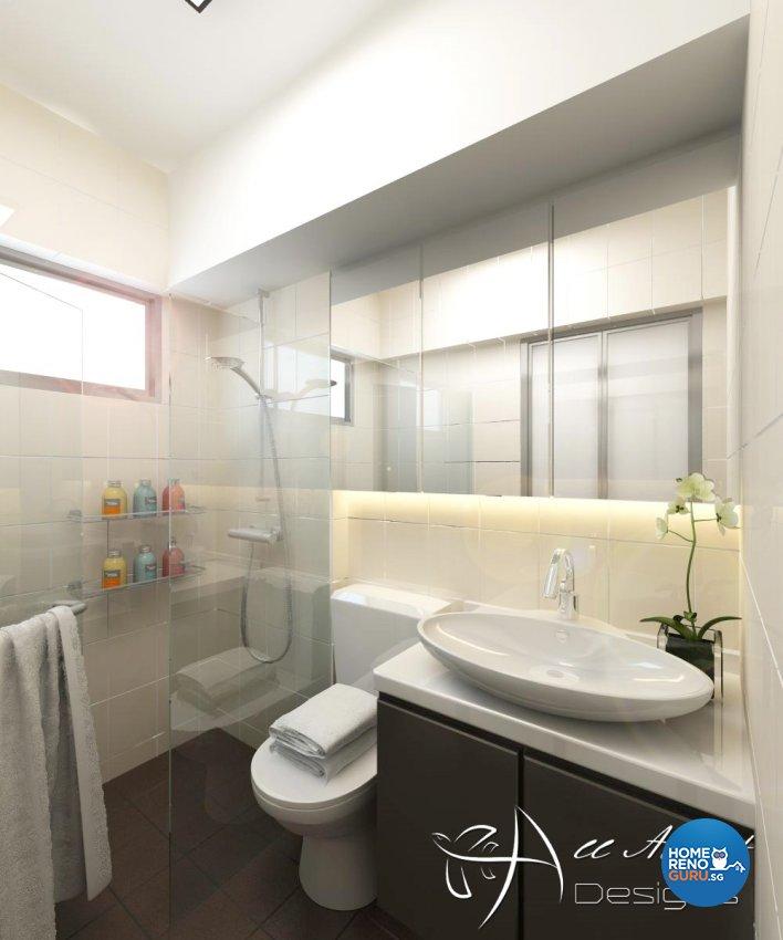 Contemporary, Modern Design - Bathroom - HDB 4 Room - Design by All About Designs Pte Ltd