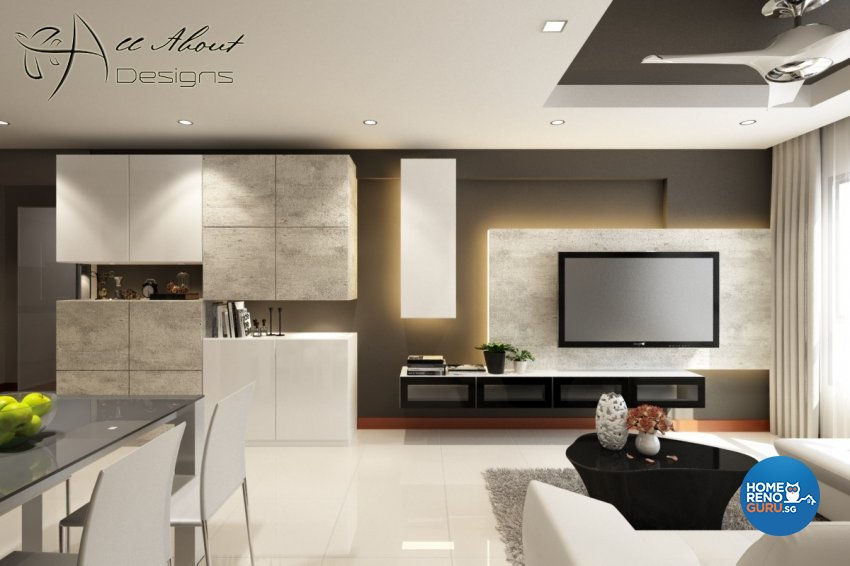 Contemporary, Minimalist, Modern Design - Living Room - HDB 4 Room - Design by All About Designs Pte Ltd