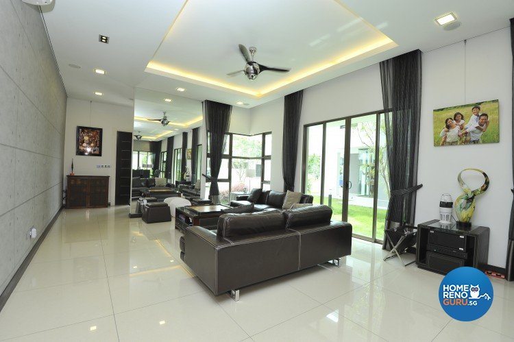 Contemporary minimalist modern design living room landed house design by amazon