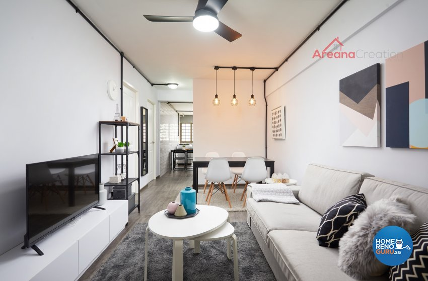 Contemporary Design - Living Room - HDB 3 Room - Design by Areana Creation Pte Ltd