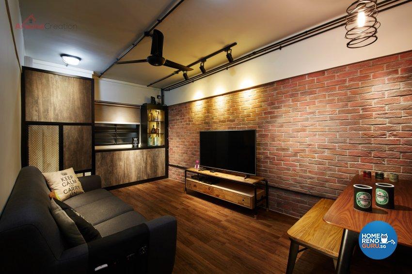 Industrial Design - Living Room - HDB 3 Room - Design by Areana Creation Pte Ltd