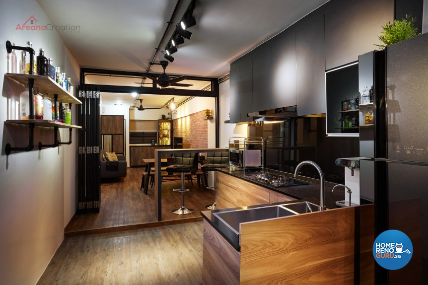 Industrial Design - Kitchen - HDB 3 Room - Design by Areana Creation Pte Ltd