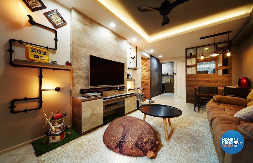 Industrial, Modern, Rustic Design - Living Room - HDB 3 Room - Design by Areana Creation Pte Ltd