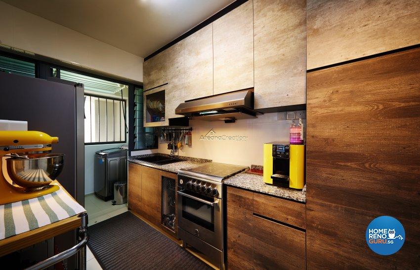 Industrial, Modern, Rustic Design - Kitchen - HDB 3 Room - Design by Areana Creation Pte Ltd