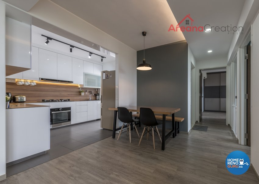 Industrial, Minimalist, Modern Design - Dining Room - HDB 4 Room - Design by Areana Creation Pte Ltd