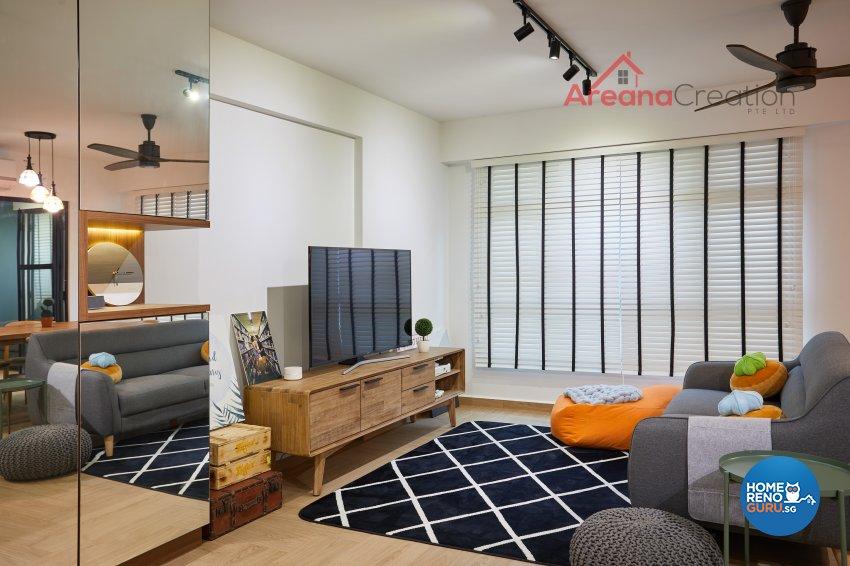 Contemporary Design - Living Room - HDB 5 Room - Design by Areana Creation Pte Ltd