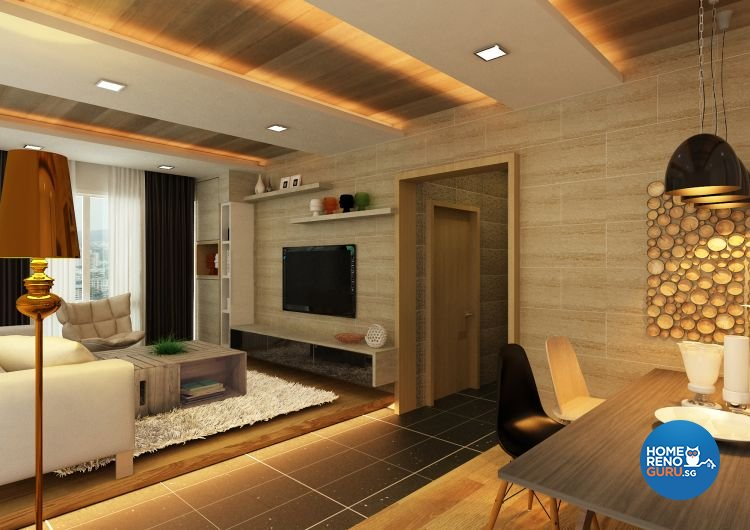 Contemporary, Modern Design - Living Room - HDB 4 Room - Design by Atelier  Interior