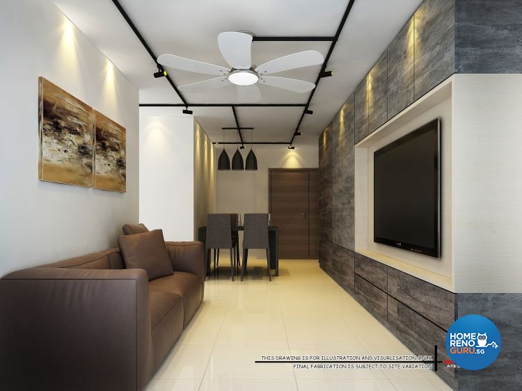 Contemporary, Industrial, Modern Design - Living Room - HDB 4 Room - Design  by